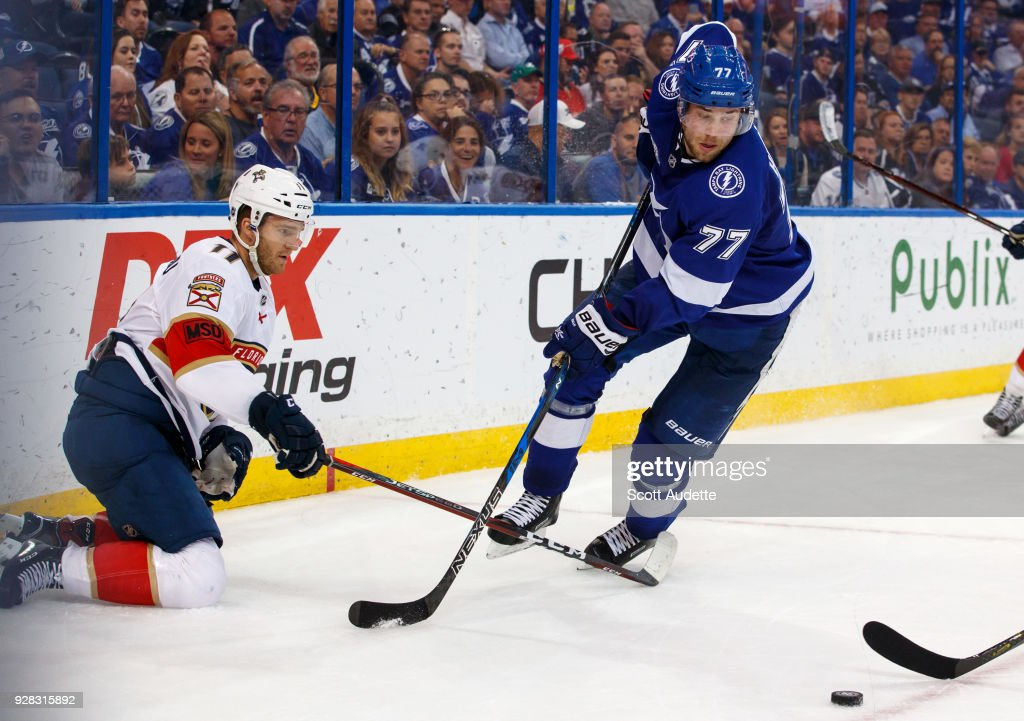 Victor Hedman #77 of the Tampa Bay Lightning skates against Jonathan Huberdeau #11 of the Florida Panthers during the overtime at Amalie Arena on March 6, 2018 in Tampa, Florida.