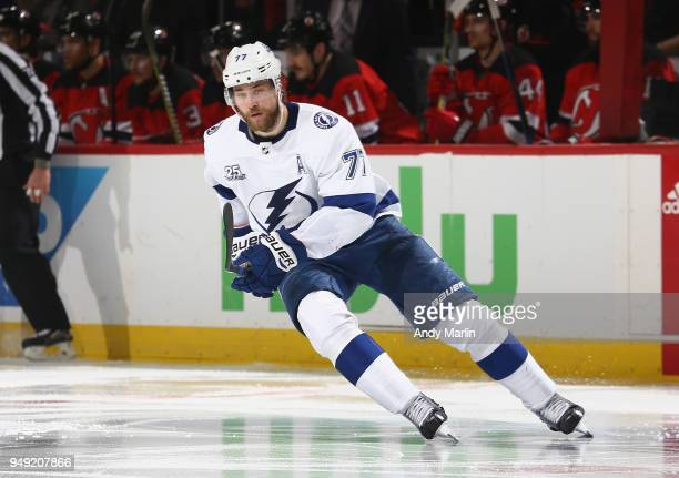 Victor Hedman of the Tampa Bay Lightning skates against the New Jersey Devils in Game Four of the Eastern Conference First Round during the 2018 NHL...