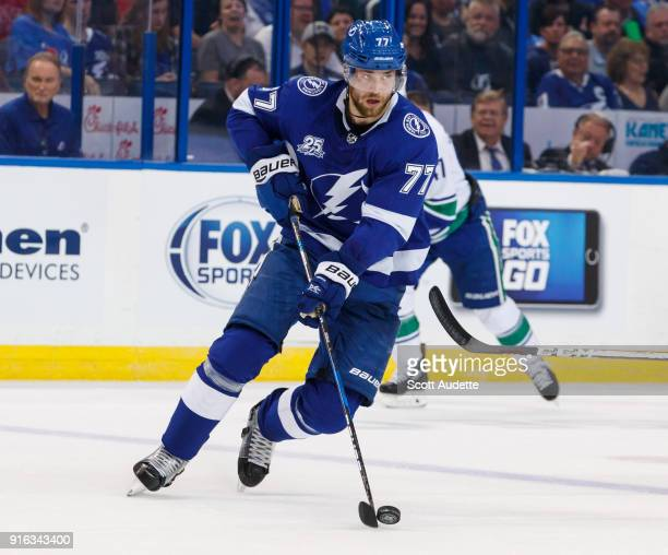 Victor Hedman of the Tampa Bay Lightning skates against the Vancouver Canucks during the first period at Amalie Arena on February 8 2018 in Tampa...