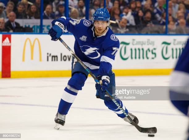 Victor Hedman of the Tampa Bay Lightning skates against the Winnipeg Jets during the first period at Amalie Arena on December 9 2017 in Tampa Florida