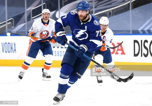 Victor Hedman of the Tampa Bay Lightning skates in the second period of Game Two of the Eastern Conference Final of the 2020 NHL Stanley Cup Playoffs...