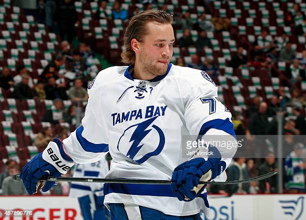Victor Hedman of the Tampa Bay Lightning skates up ice during their NHL game against theVancouver Canucks at Rogers Arena October 18, 2014 in...