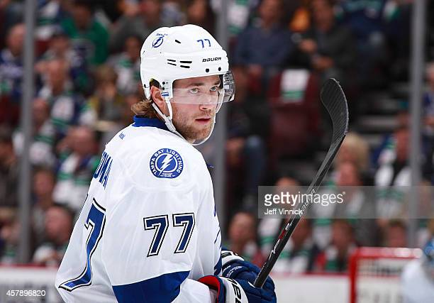 Victor Hedman of the Tampa Bay Lightning skates up ice during their NHL game against theVancouver Canucks at Rogers Arena October 18 2014 in...