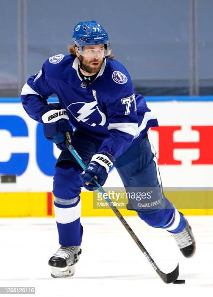 Victor Hedman of the Tampa Bay Lightning skates with the puck against the Boston Bruins during the first period of Game One of the Eastern Conference...