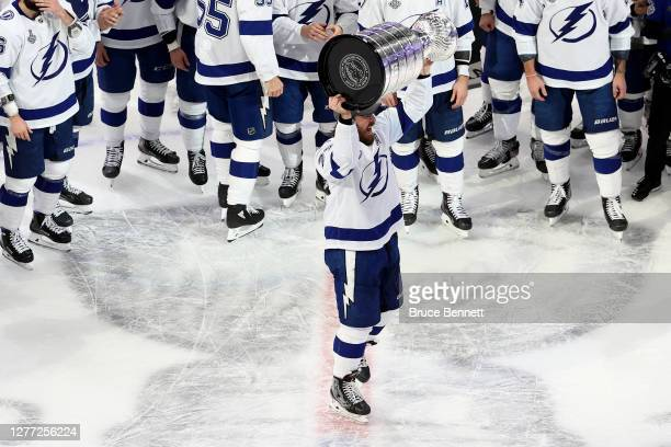 Victor Hedman of the Tampa Bay Lightning skates with the Stanley Cup following the series-winning victory over the Dallas Stars in Game Six of the...