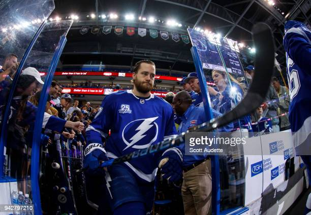Victor Hedman of the Tampa Bay Lightning steps out to the ice for the pregame warm ups against the Buffalo Sabres at Amalie Arena on April 6 2018 in...