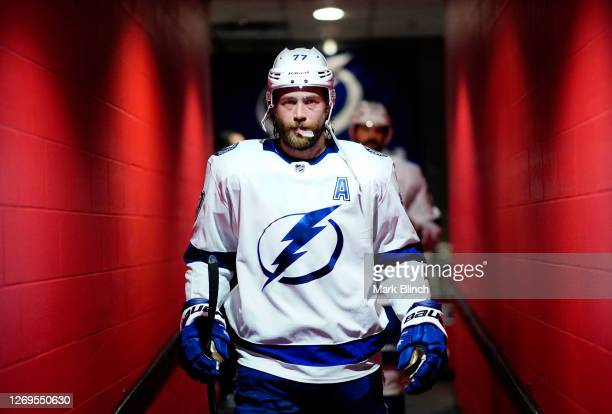 Victor Hedman of the Tampa Bay Lightning walks down the hall before playing against the Boston Bruins in the second period of Game Four of the...