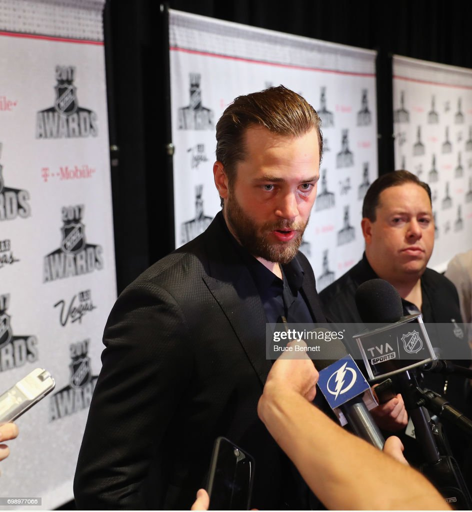 Victor Hedman of the Tamps Bay Lightning is interviewed during media availability for the 2017 NHL Awards at the Encore Las Vegas on June 20, 2017 in Las Vegas, Nevada.
