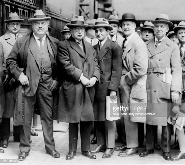 Victor Herbert composer of operettas John Philip Sousa the band king Irving Berlin Harry Von Tilzer and William Jerome composers pose for a photograph