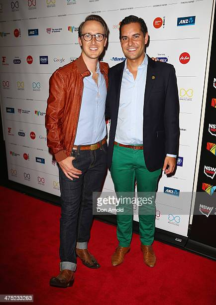 Victor Hold and Alex Greenwich arrive at the 2014 Sydney Gay Lesbian Mardi Gras VIP Party on February 27 2014 in Sydney Australia