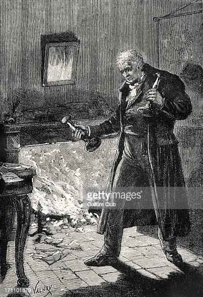 Victor Hugo the French poet and novelist's novel 'Les Misérables' Illustration by Valnay 'Into the Fire' 26 February 1802 22 May 1885