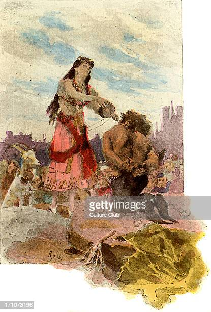 Victor Hugo's Notre Dame de Paris 1831 Esmerelda quenches the bound Quasimodo's thirst Captions 'Loosening a gourd from her girdle she raised it...