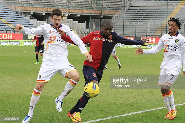 Victor Ibarbo of Cagliari in action during the Serie A match between Cagliari Calcio and US Lecce at Stadio Sant'Elia on February 26 2012 in Cagliari...