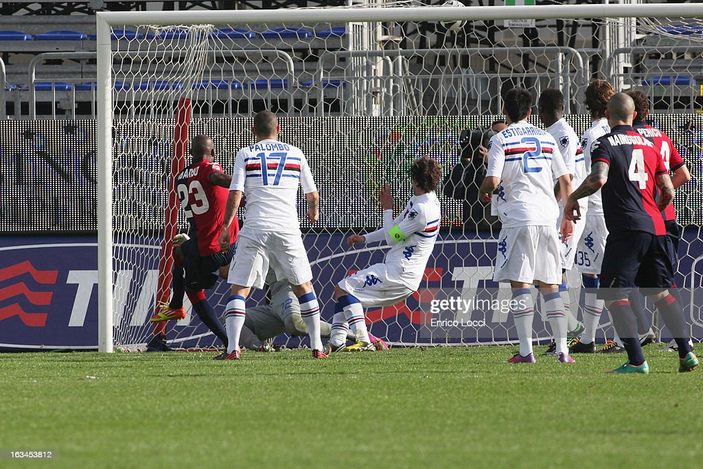 Victor Ibarbo of Cagliari scores the second goal during the Serie A match between Cagliari Calcio and UC Sampdoria at Stadio Sant'Elia on March 10, 2013 in Cagliari, Italy.