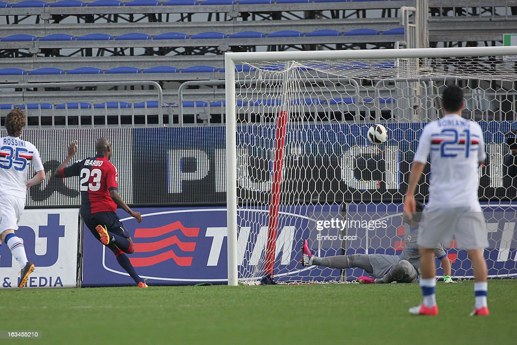 Victor Ibarbo of Cagliari scoring 3-0 during the Serie A match between Cagliari Calcio and UC Sampdoria at Stadio Sant'Elia on March 10, 2013 in Cagliari, Italy.