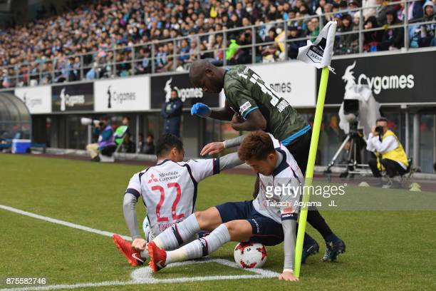 Victor Ibarbo of Sagan Tosu competes for the ball against Yuhei Tokunaga and Jang Hyun Soo of FC Tokyo during the JLeague J1 match between Sagan Tosu...