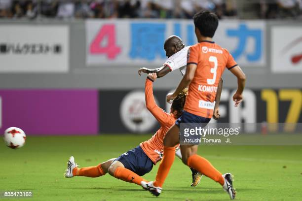 Victor Ibarbo of Sagan Tosu scores his side's second goal during the J.League J1 match between Sagan Tosu and Omiya Ardija at Best Amenity Stadium on...