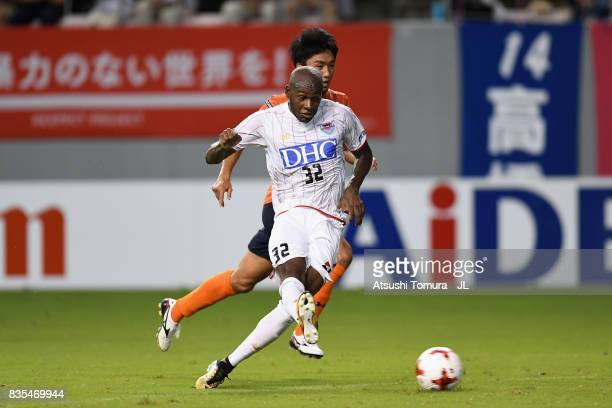 Victor Ibarbo of Sagan Tosu scores the opening goal during the J.League J1 match between Sagan Tosu and Omiya Ardija at Best Amenity Stadium on...