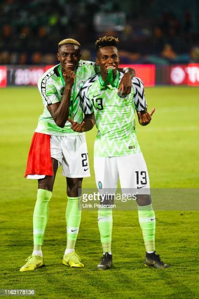 Victor James of Nigeria and Samuel Chimerenka Chukwueze of Nigeria celebrate during the 2019 Africa Cup of Nations third place final soccer match...