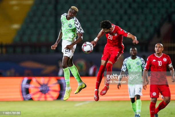 Victor James osimhen of Nigeria and Ghaylen Chaaleli of Tunisia during the 3rd place African Nations Cup match between Tunisia and Nigeria on 14th...