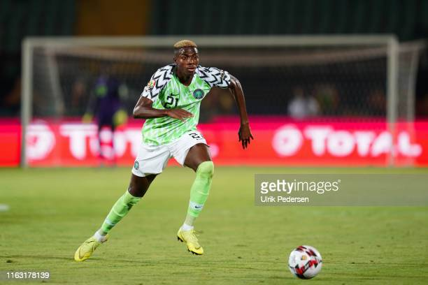 Victor James osimhen of Nigeria during the 2019 Africa Cup of Nations third place final soccer match between Tunisia and Nigeria at the Al-Salam...