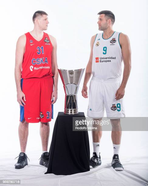 Victor Khryapa #31 of CSKA Moscow and Felipe Reyes #9 of Real Madrid poses during the 2018 Turkish Airlines EuroLeague F4 Teams Captains with...