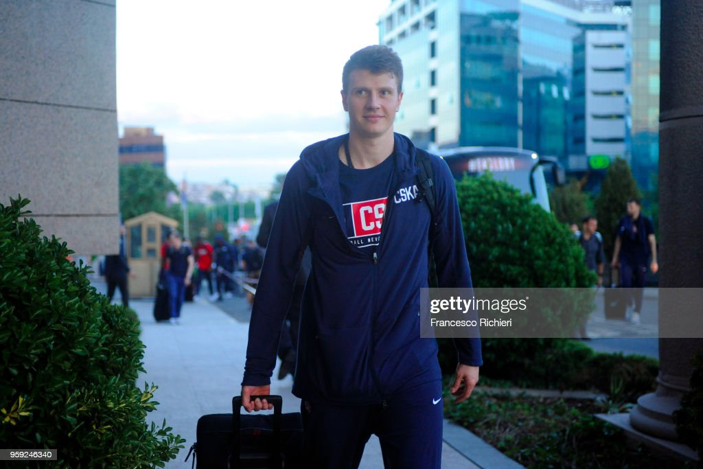 Victor Khryapa, #31 of CSKA Moscow during the CSKA Moscow Arrival to participate of 2018 Turkish Airlines EuroLeague F4 at Hyatt Regency Hotel on May 16, 2018 in Belgrade, Serbia.