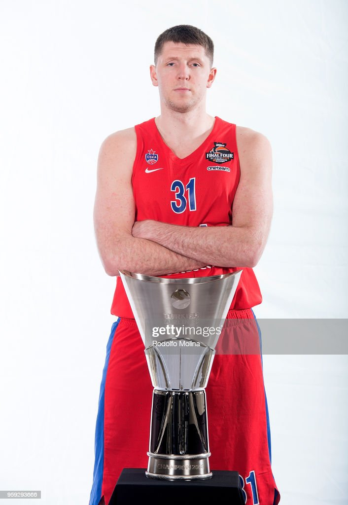 Victor Khryapa, #31 of CSKA Moscow poses during the 2018 Turkish Airlines EuroLeague F4 Teams Captains with Champion Trophy Photo Session at Hyatt Regency Belgrade Hotel on May 16, 2018 in Belgrade, Serbia.