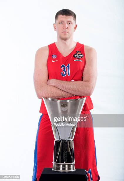Victor Khryapa #31 of CSKA Moscow poses during the 2018 Turkish Airlines EuroLeague F4 Teams Captains with Champion Trophy Photo Session at Hyatt...