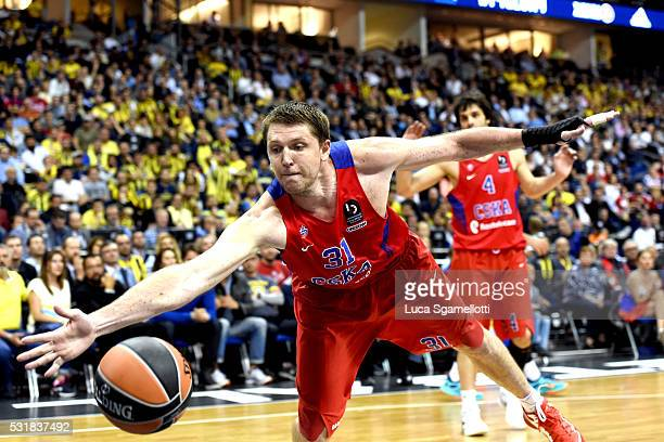Victor Khryapa #31 of CSKA Moscowduring the Turkish Airlines Euroleague Basketball Final Four Berlin 2016 Championship game between Fenerbahce...
