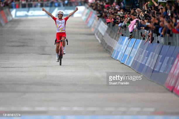 Victor Lafay of France and Team Cofidis celebrates at arrival during the 104th Giro d'Italia 2021, Stage 8 a 170km stage from Foggia to Guardia...