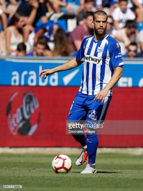 Victor Laguardia Cisneros of Deportivo Alaves CF during the La Liga Santander match between Deportivo Alaves v Espanyol at the Estadio de...