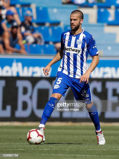 Victor Laguardia Cisneros of Deportivo Alaves CF during the La Liga Santander match between Deportivo Alaves v Espanyol at the Estadio de...