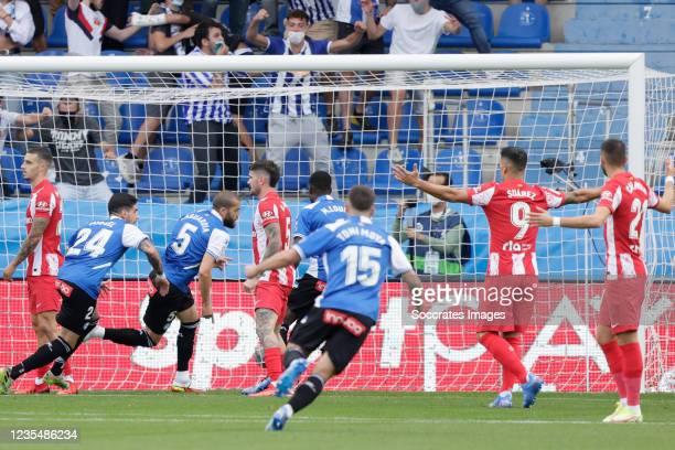 Victor Laguardia of Deportivo Alaves celebrates 1-0 during the La Liga Santander match between Deportivo Alaves v Atletico Madrid at the Estadio de...