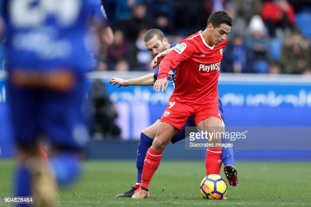 Victor Laguardia of Deportivo Alaves Wissam Ben Yedder of Sevilla FC during the La Liga Santander match between Deportivo Alaves v Sevilla at the...