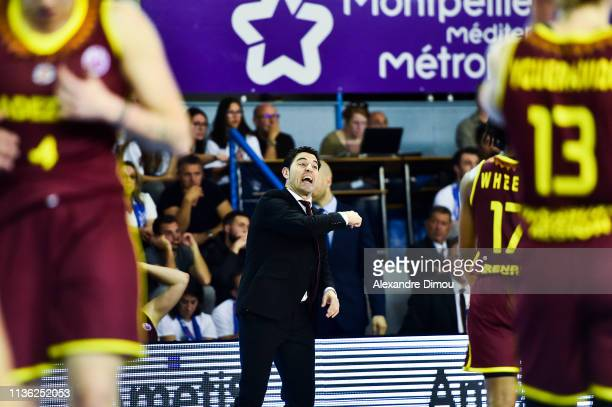 Victor Lapena head coach of Orenburg during the Final Women EuroCup match between Montpellier Lattes and Nadezhda Orenburg on April 10, 2019 in...