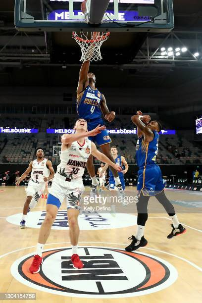 Victor Law of the Bullets drives to the basket during the NBL Cup match between the Brisbane Bullets and the Illawarra Hawks at John Cain Arena on...