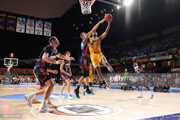 Victor Law of the Bullets drives to the basket during the round five NBL match between the Adelaide 36ers and the Brisbane Bullets at Adelaide...