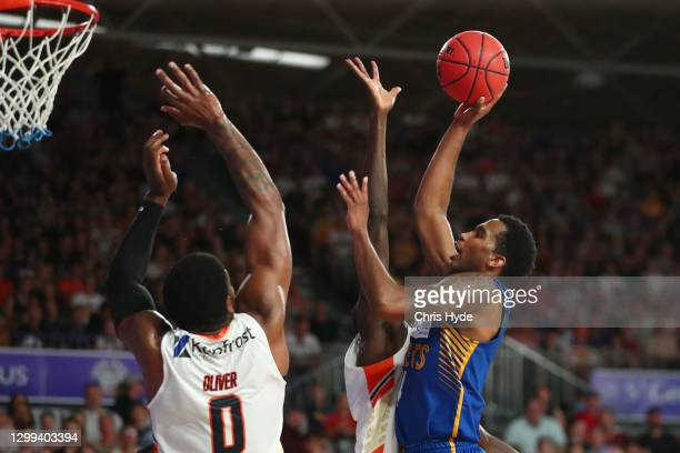 Victor Law of the Bullets shoots during the round three NBL match between the Brisbane Bullets and the Cairns Taipans at Nissan Arena, on January 30...