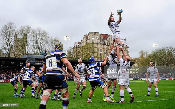 Victor Lebas of Brive rises to claim the line out during the Amlin Challenge Cup quarter final match between Bath and Brive at the Recreation Ground...
