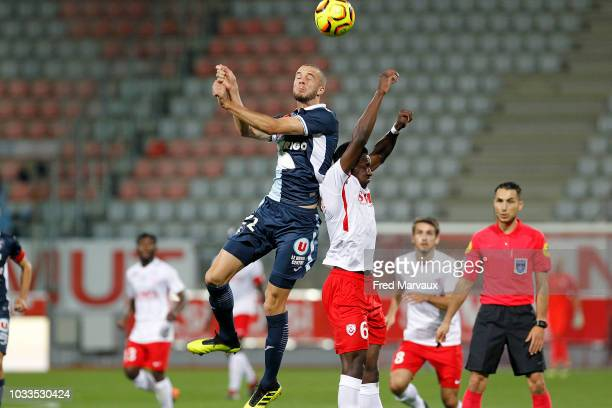 Victor Lekhal of Le Havre and Abou Ba of Nancy during the French Ligue 2 match between Nancy and Le Havre on September 14 2018 in Nancy France