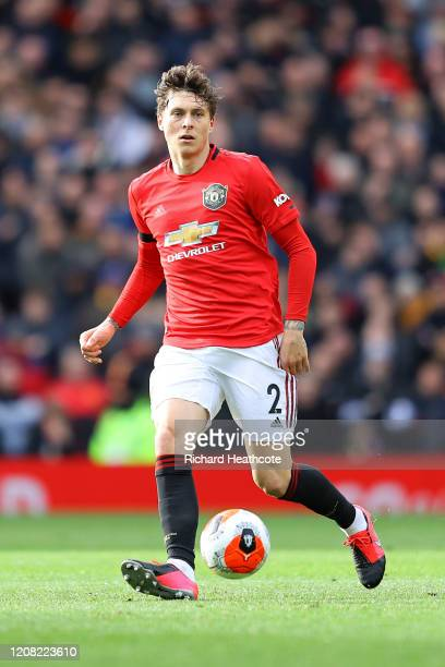 Victor Lindelöf of Man Utd in action during the Premier League match between Manchester United and Watford FC at Old Trafford on February 23, 2020 in...