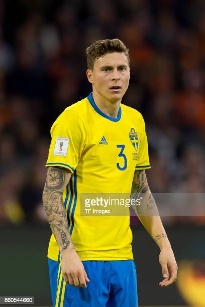 Victor Lindeloef of Sweden looks on during the FIFA 2018 World Cup Qualifier between Netherlands and Sweden at Amsterdam ArenA on October 10 2017 in...
