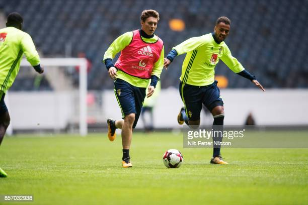 Victor Lindelof and Isaac Kiese Thelin of Sweden during the FIFA 2018 World Cup Qualifier between Sweden and Luxembourg at Friends arena on October 3...