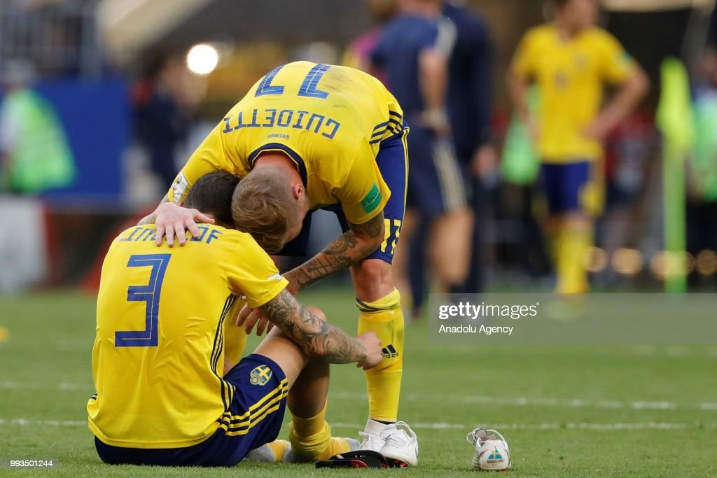 Victor Lindelof (3) and John Guidetti (11) of Sweden are upset after losing against England on the 2018 FIFA World Cup Russia quarter final match between Sweden and England at the Samara Arena in Samara, Russia on July 07, 2018.