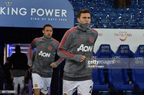 Victor Lindelof and Nemanja Matic of Manchester United before the Premier League match between Leicester City and Manchester United at The King Power...