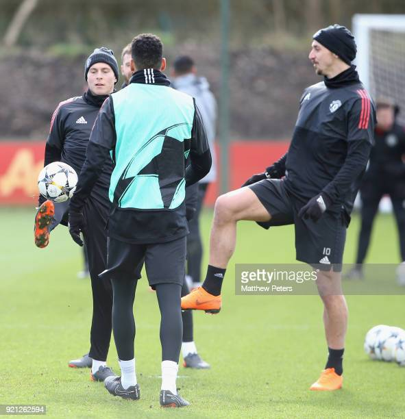 Victor Lindelof and Zlatan Ibrahimovic of Manchester United in action during a first team training session at Aon Training Complex on February 20...