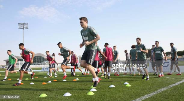 Victor Lindelof Daley Blind and Matteo Darmian of Manchester United in action during a first team training session at Nad Sheba Sports Complex on...