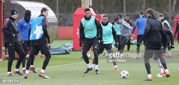 Victor Lindelof David de Gea Nemanja Matic Chris Smalling and Michael Carrick of Manchester United in action during a first team training session at...
