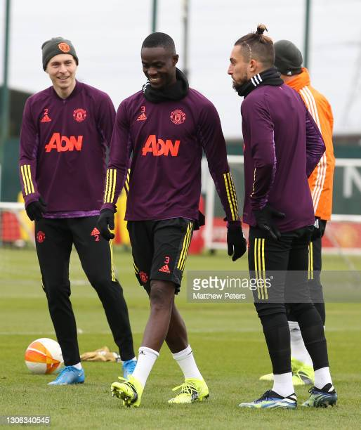 Victor Lindelof, Eric Bailly, Alex Telles of Manchester United in action during a first team training session at Aon Training Complex on March 10,...